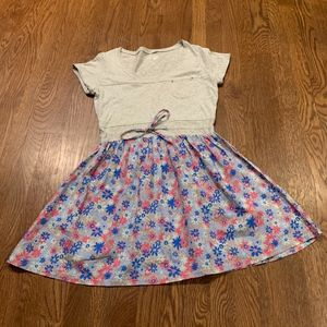 Dream Out Loud Gray Top Blue Floral Skirt Dress